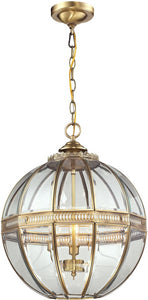 "16""w 3-Light Pendant Polished Copper"