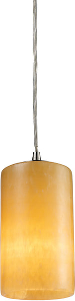 Elk Lighting Piedra 1-Light Pendant Satin Nickel with Orange/Yellow Glass 101691