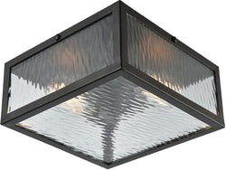 Placid 2-Light Flush Oil Rubbed Bronze/Clear Ripple Glass