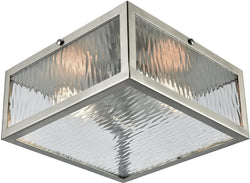 Placid 2-Light Flush Polished Chrome/Clear Ripple Glass