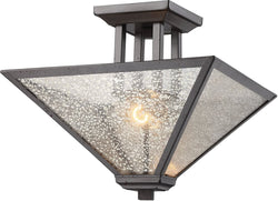 Plano 2-Light Semi Flush Iron Rust/Mercury Glass