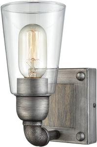 Elk Lighting Platform 1-Light Vanity Weathered Zinc/Washed Wood/Clear Glass 144701
