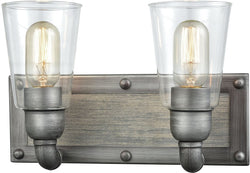 "13""w Platform 2-Light Vanity Weathered ZincWashed WoodClear Glass"