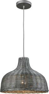 Elk Lighting Pleasant Fields 1-Light Pendant/Graphite Hardware/Gray Wicker Shade 316411