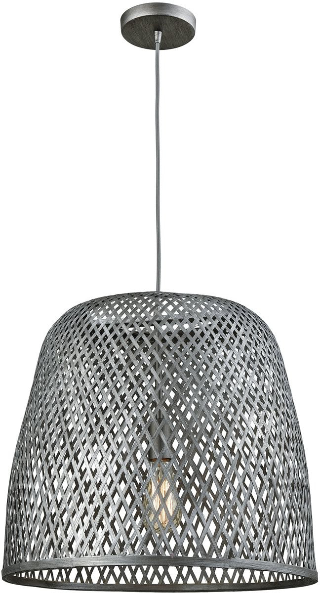 "20""W Pleasant Fields 1-Light Pendant/Graphite Hardware/Gray Wicker Shade"