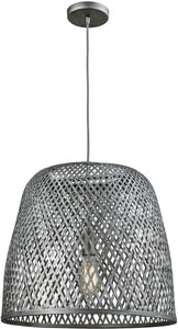 Elk Lighting Pleasant Fields 1-Light Pendant/Graphite Hardware/Gray Wicker Shade 316421