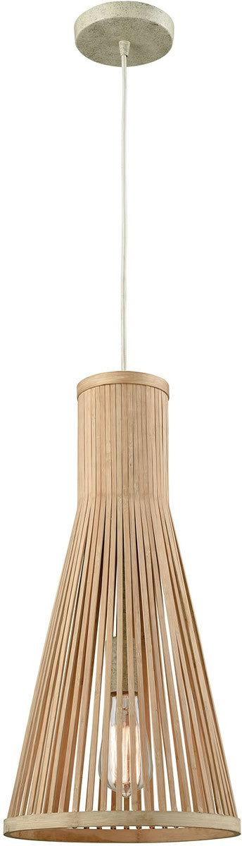 "10""W Pleasant Fields 1-Light Pendant/Russet Beige Hardware/Natural Wicker Shade"