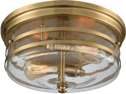Port O' Connor 2-Light Flush Satin Brass/Seedy Glass