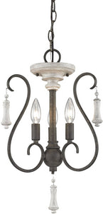 Porto Cristo 3-Light Chandelier Palermo Rust/Birch Accents