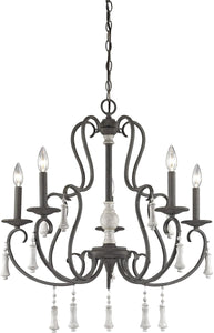 Elk Lighting Porto Cristo 5-Light Chandelier Palermo Rust/Birch Accents 520225