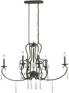 Elk Lighting Porto Cristo 6-Light Chandelier Palermo Rust/Birch Accents 520236