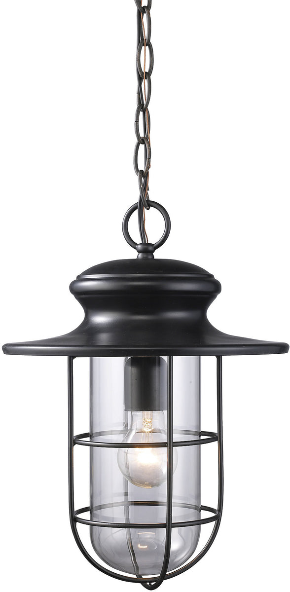 "11""W Portside 1-Light Outdoor Pendant Matte Black with Transparent Glass"