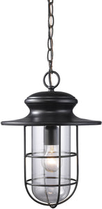 Elk Lighting Portside 1-Light Outdoor Pendant Matte Black with Transparent Glass 422861