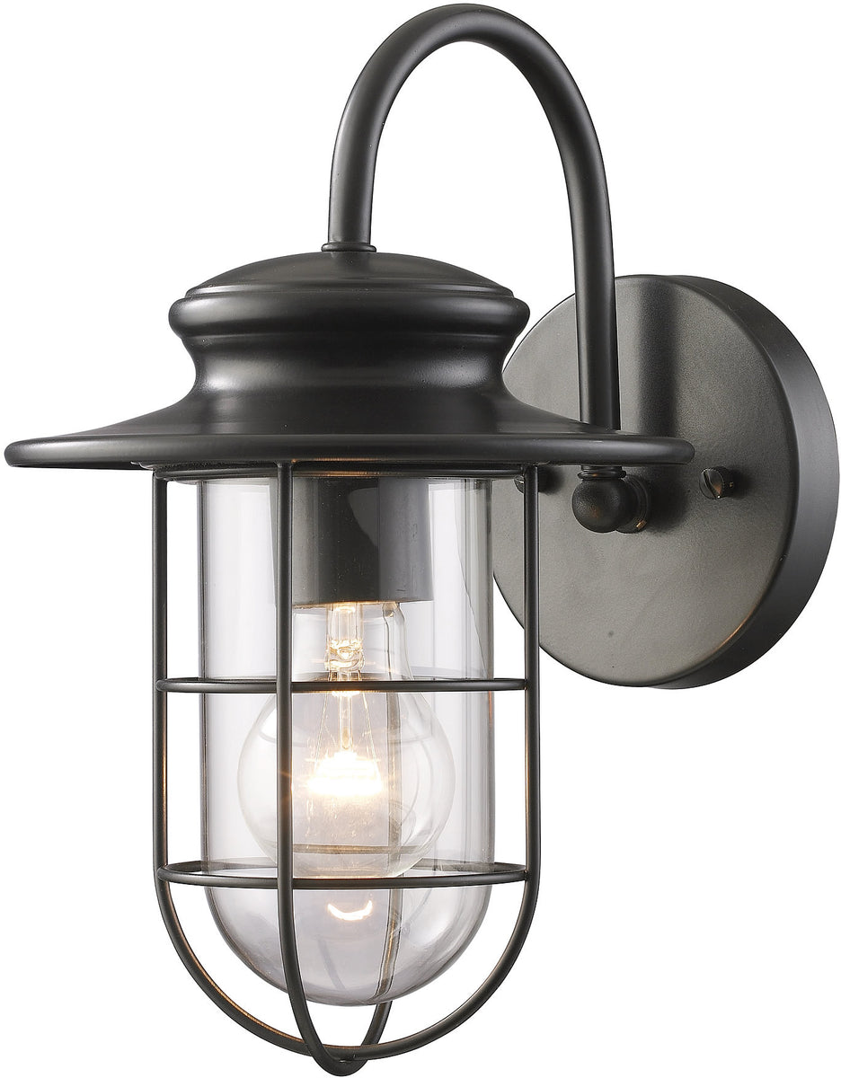 "12""h Portside 1-Light 12'' Outdoor Wall Sconce Matte Black with Transparent Glass"
