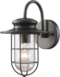 Elk Lighting Portside 1-Light 12'' Outdoor Wall Sconce Matte Black with Transparent Glass 422841