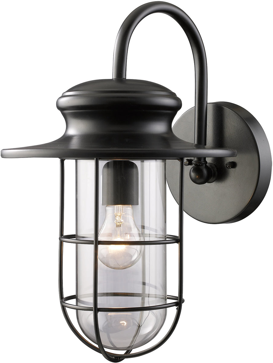 "18""H Portside 1-Light Outdoor Wall Sconce Matte Black with Transparent Glass"