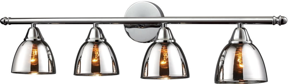 "33""W Reflections 4-Light Vanity Polished ChromeChrome Plated Glass"
