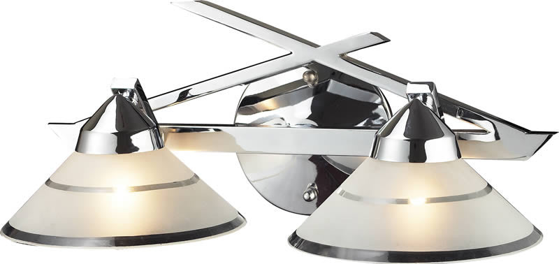 "16""w Refraction 2-Light Halogen Bathroom Vanity Polished Chrome/Etched Clear"