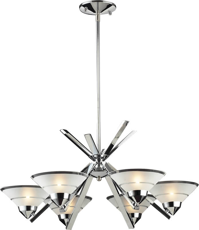 "26""w Refraction 6-Light Halogen Chandelier Polished Chrome/Etched Clear"