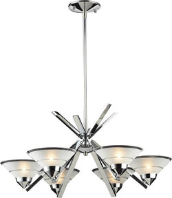 Elk Lighting Refraction 6-Light Halogen Chandelier Polished Chrome/Etched Clear 14756