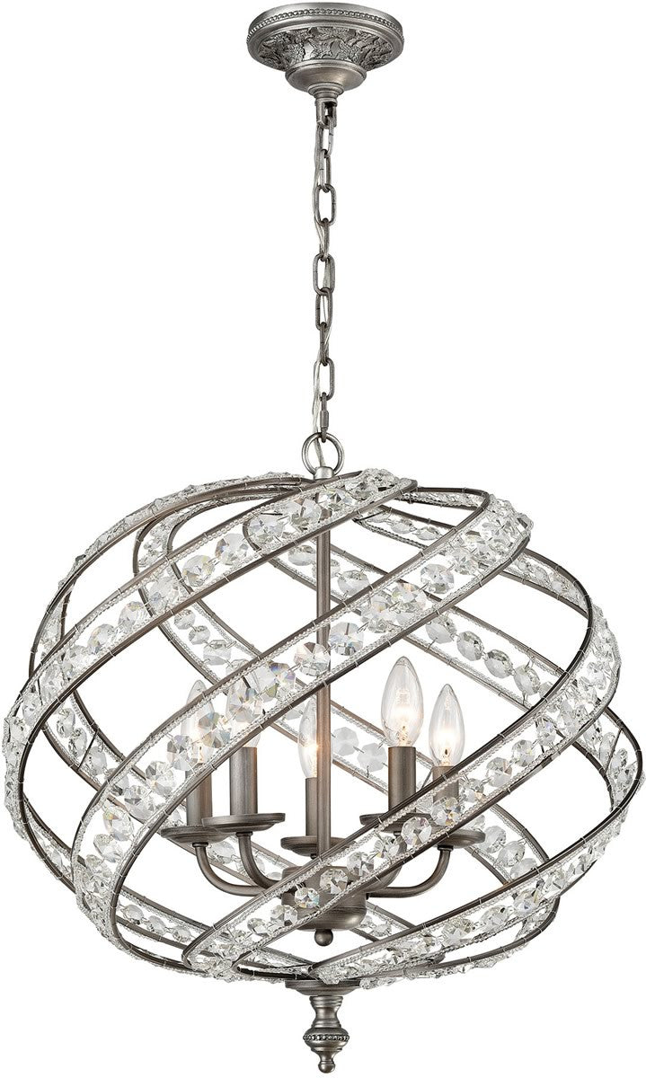 "21""W Renaissance 5-Light Chandelier Weathered Zinc"