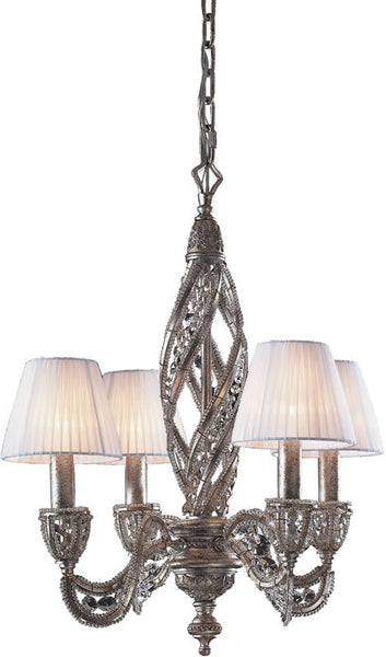 "19""w Renaissance 4-Light Chandelier Sunset Silver"