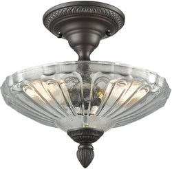 Restoration Flushes 3-Light Semi Flush Oil Rubbed Bronze/Clear Glass