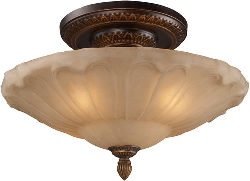 "20""w Restoration 4-Light Semi Flush Golden Bronze"