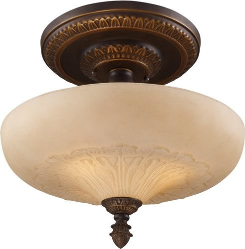 "15""W Restoration 3-Light Semi Flush Golden Bronze"