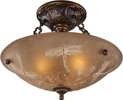 "16""w Restoration 3-Light Semi Flush Golden Bronze"