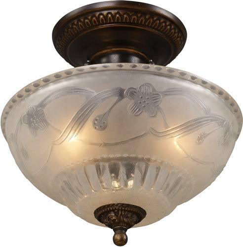 "11""W Restoration 3-Light Semi Flush Golden Bronze"