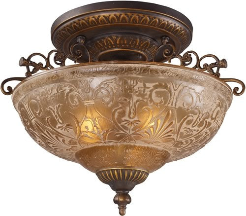 "19""w Restoration 3-Light Semi Flush Golden Bronze"