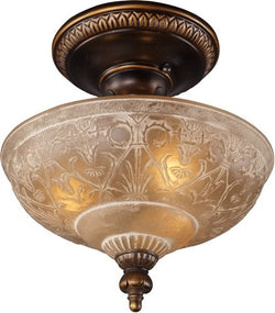 "12""w Restoration 3-Light Semi Flush Golden Bronze"