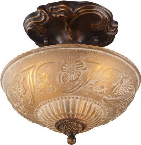"10""w Restoration 3-Light Semi Flush Golden Bronze"