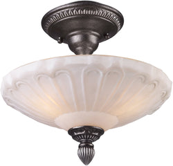 "12""w Restoration 3-Light Semi Flush Ceiling Light Dark Silver"