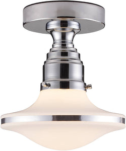 "8""w Retrospectives 1-Light Semi-Flush Mount Polished Chrome"
