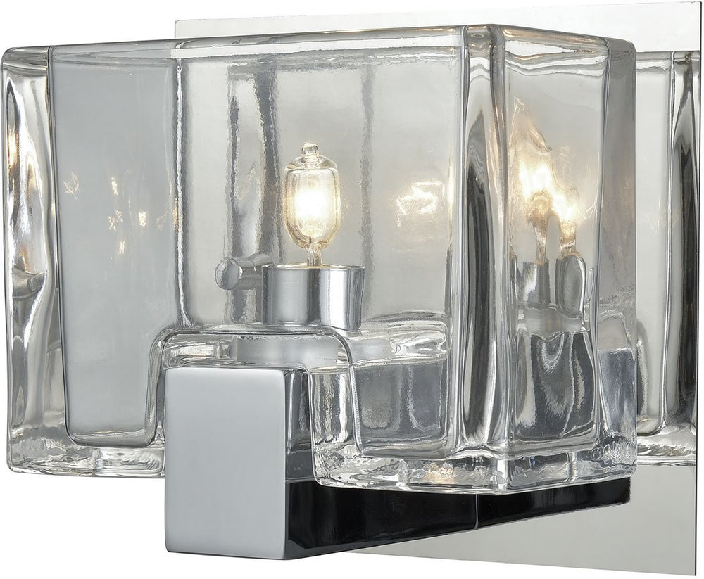 "6""W Ridgecrest 1-Light Vanity Polished Chrome/Clear Cast Glass"