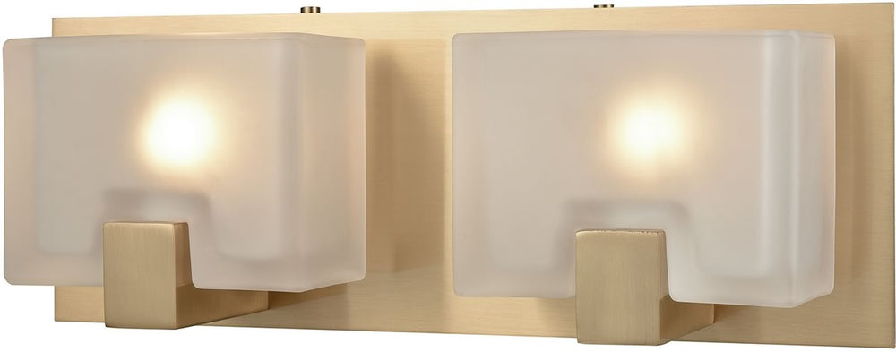 "14""W Ridgecrest 2-Light Vanity Satin BrassFrosted Cast Glass"