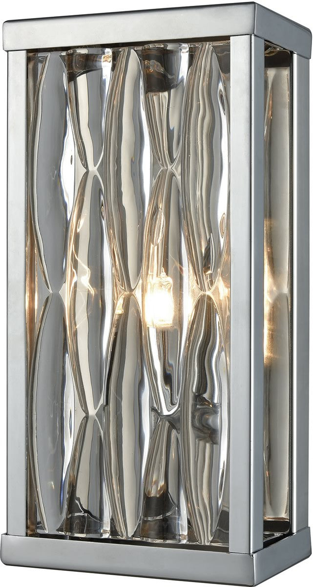 "5""W Riverflow 1-Light Vanity Polished Chrome/Stacked River Stone Glass"