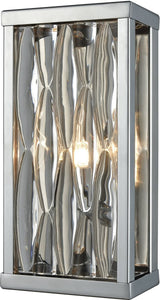 Riverflow 1-Light Vanity Polished Chrome/Stacked River Stone Glass
