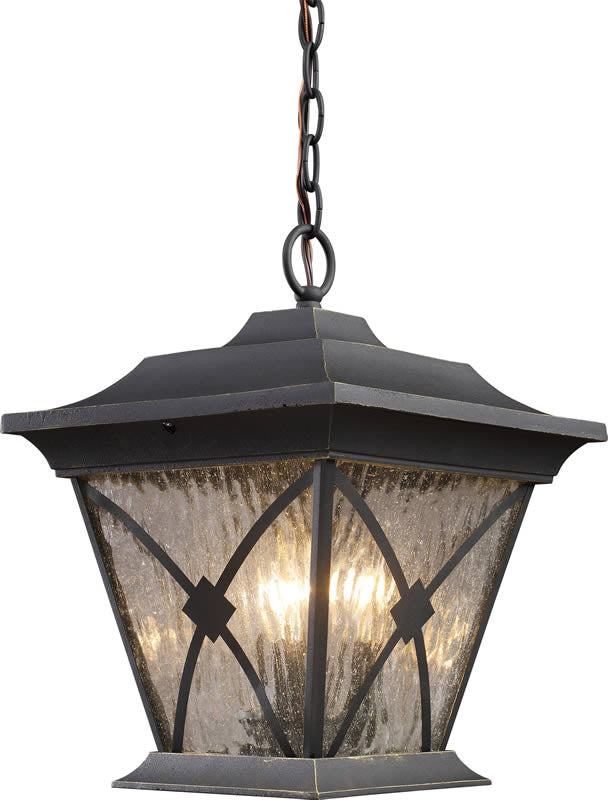"11""W Rutland Square 1-Light Outdoor Pendant Hazelnut Bronze"