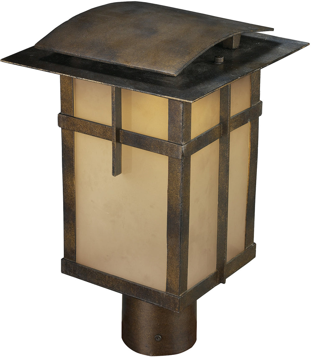 "14""h San Fernando 1-Light LED Outdoor Post Light Hazelnut Bronze with Cream Glass"