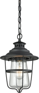 San Mateo 1-Light Outdoor Pendant Textured Matte Black/Clear Seedy Glass