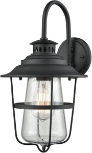 Elk Lighting San Mateo 1-Light Outdoor Wall Sconce Textured Matte Black/Clear Seedy Glass 451201