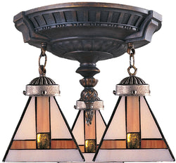 Elk Lighting Mix-N-Match Tiffany 3-Light Semi Flush Aged Walnut 997AW01