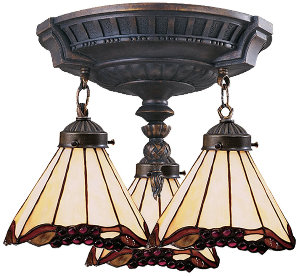 "14""W Mix-N-Match Tiffany 3-Light Semi Flush Aged Walnut"