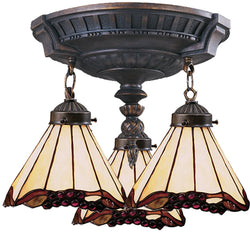 Elk Lighting Mix-N-Match Tiffany 3-Light Semi Flush Aged Walnut 997AW03