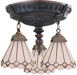 Elk Lighting Mix-N-Match Tiffany 3-Light Semi Flush Aged Walnut 997AW04
