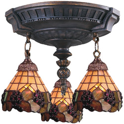Elk Lighting Mix-N-Match Tiffany 3-Light Semi Flush Aged Walnut 997AW07