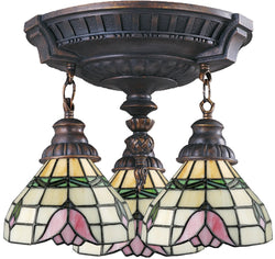 Elk Lighting Mix-N-Match Tiffany 3-Light Semi Flush Aged Walnut 997AW09